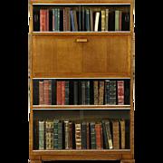 Midcentury Modern Oak 1950's Vintage Secretary Desk & Bookcase, Signed