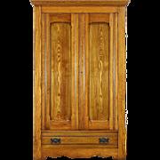 Victorian Eastlake 1890 Antique Oak & Ash Armoire, Wardrobe or Closet