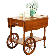 Carved Cherry Vintage Tea Cart Beverage Trolley, Signed Krauss of Amana, Iowa