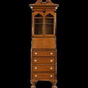 English 1920 Antique Secretary Desk & Bookcase, Satinwood & Ebony Marquetry