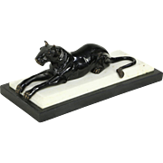 Lion Vintage Bronze Sculpture, Black & White Marble Base