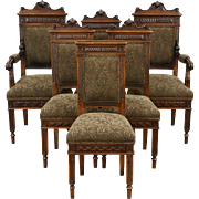 Set of 6 Italian Carved Walnut Antique Dining Chairs, New Upholstery
