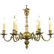 Patinated Brass 1920's Antique 6 Candle Chandelier