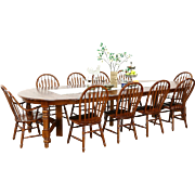 "Oak Vintage Dining Set, 54"" Table, 8 Leaves, 10 Chairs, Richardson Bros. WI"