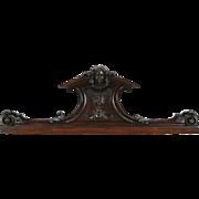 Italian 1890 Antique Architectural Salvage Crest, Hand Carved Head Sculpture C