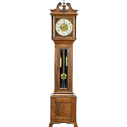 New Haven Signed Antique 1910 Oak Long Case Grandfather Clock