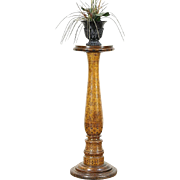 Burnt Wood Pyrography Latin Inscribed Antique Plant Stand or Sculpture Pedestal