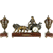 French Red Marble Antique Mantel Figural Clock Set, Lions & Chariot Signed Paris