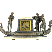 Art Deco French Onyx Mantel Clock, Venetian Gondola, Statues, Signed Japy Freres