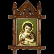 Victorian 1870's Print of Jesus Ecce Agnus Dei, Carved Walnut Frame