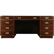 Kittinger Signed Executive or Library Vintage Campaign Desk, Gold Tooled Leather