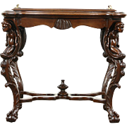 Angel or Cherub Carved 1920 Antique Walnut Coffee or Chairside Table, Glass Tray