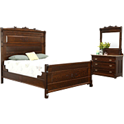 Victorian Eastlake Quarter Sawn Oak 1880 Antique 2 Pc. Queen Size Bedroom Set