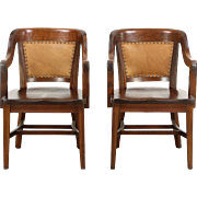 Pair of Antique Mahogany & Leather Banker Chairs, Signed Lome, Chicago