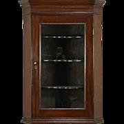 English Georgian 1830 Antique Hanging Cupboard or Corner Cabinet, Glass Door