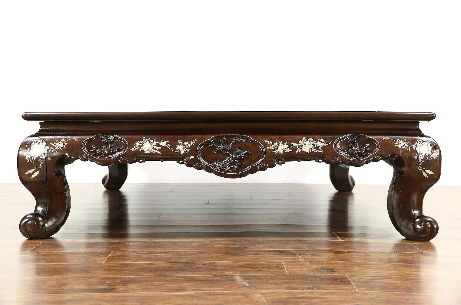 Chinese Rosewood 1860 Antique Low Banquet Dining Or Coffee Table Harp Gallery Antique