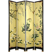 Coromandel Carved 4 Panel Chinese Screen