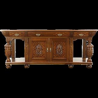 """Renaissance 93"""" Oak Antique 1900 Sideboard, Server, Console Buffet, Carved Faces"""