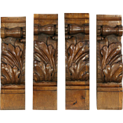 Corner Brackets or Corbels, Set of 4 Antique Architectural Salvage Carvings