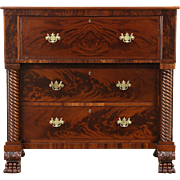 Empire 1830's Antique Mahogany Secretary Desk, Lion Paw Feet