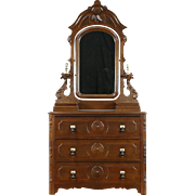 Victorian 1870 Antique Chest or Dresser, Carved Walnut, Mirror, Jewelry Boxes