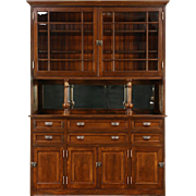 Victorian Pine Antique 1890 Pantry Cupboard or Sideboard & China Cabinet