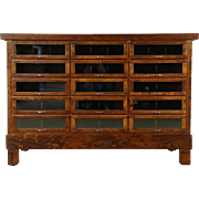Kitchen Counter Island or Display Cabinet, Cherry, Glass Front Drawers