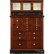 Dentist Antique 1910 Antique 22 Drawer Mahogany & Marble Dental, Jewelry Cabinet
