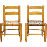 Pair of 1930 Vintage Ash & Maple Child Size Chairs, Photography Props