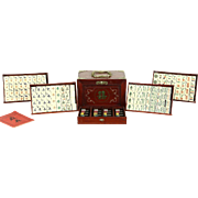 Mah Jong 1920's Chinese Majong Game Set, Carved Bone, Rosewood Case