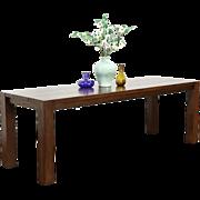 Oak Vintage Library or Harvest Dining Table or Writing Desk, Signed 2004