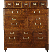 Stacking Quarter Sawn Oak 1910 Antique 12 Drawer Library or Office File Cabinet