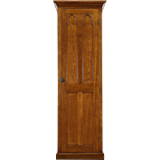 Gothic Carved Antique 1890 Oak Armoire, Closet or Pantry Cabinet