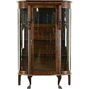 Oak Antique 1900 Curved Glass Curio China Display Cabinet, Lion Heads & Paws