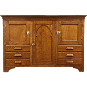 Gothic Carved 1890 Antique Oak Sideboard Cabinet or TV Console