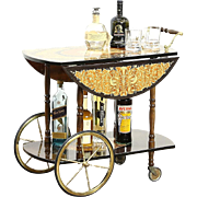 Italian Marquetry Vintage  Tea or Dessert Cart, Beverage Trolley, Chariot Motif