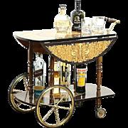 Italian Marquetry Vintage  Tea or Dessert Cart, Beverage Trolley, Chariot Motif