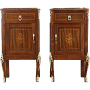 Pair of Italian Antique 1920 Nightstands or End Tables, Marquetry & Marble Tops