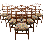 Set of 8 Traditional Carved Mahogany Vintage Dining Chairs, New Upholstery