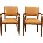 Pair of Midcentury Modern 1960's Vintage Danish Leather Office or Library Chairs