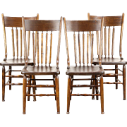 Set of 4 Farmhouse Kitchen Antique 1900 Elm Dining Chairs