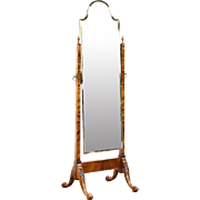 Dressing or Cheval 1925 Antique Swivel Beveled Mirror, Carved Frame