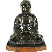 Bronze Statue of Buddha, 1920 Antique Chinese Sculpture, Mahogany Base