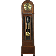Gustave Becker Signed Oak Antique 1915 Grandfather Long Case Clock, Germany