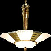 Art Deco 1930's Vintage Chandelier, Etched Glass Shades