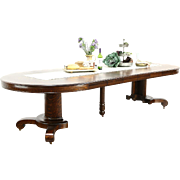 """Round Quarter Sawn 54"""" Oak 1910 Antique Dining Table, 6 Leaves, Extends 10 1/2'"""