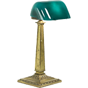 Emeralite Emerald Green 1916 Pat. Antique Brass Banker Desk or Piano Lamp