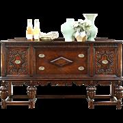 English Tudor 1920 Antique Carved Oak Sideboard, Server or Buffet