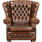 Tufted Brown Leather Vintage Scandinavian Wing Chair