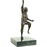 Bronze Vintage Sculpture of a Running Boy, Marble Base